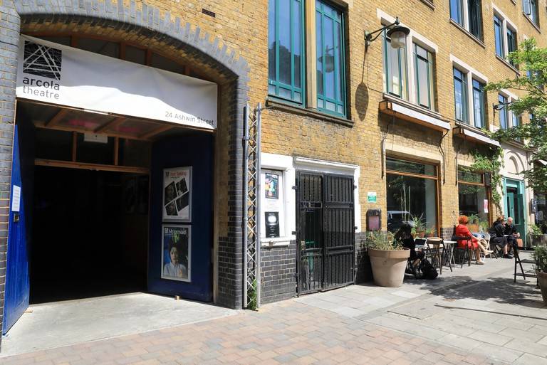 The Arcola Theatre on Ashwin Strete in trendy Dalston, in east London, England, UK