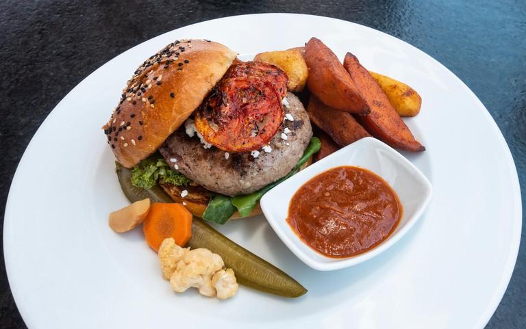 A special burger platter at Antonia Bistro in San Miguel de Allende, Mexico