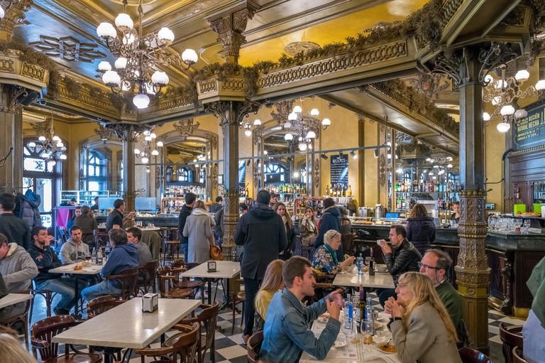 The Cafe Iruna in the old town (casco antiguo), haunt of Ernest Hemingway, Plaza del Castillo, Pamplona, Navarra, Spain