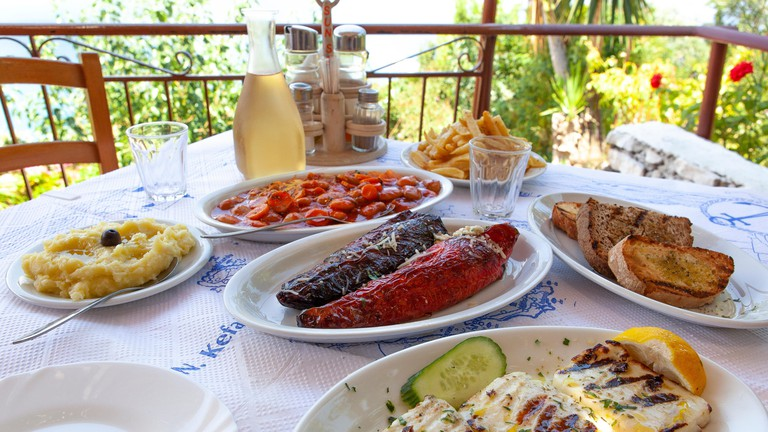 A mezze meal in a Greek restaurant in Poros Kefalonia
