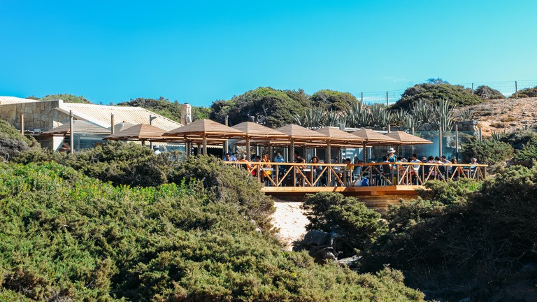 Guincho, Portugal - Oct 6, 2018: Bar do Guincho is a popular destination close to Guincho Beach offering burgers, sandwiches, salads offered in a casu