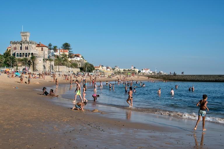 City beach Praia do Tamariz in Estoril, Portugal.