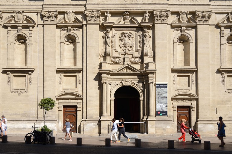 Baroque Facade (1620) of the Musee Lapidaire or Archeological Museum, in the former Chapel of a Jesuit College, Avignon Provence France