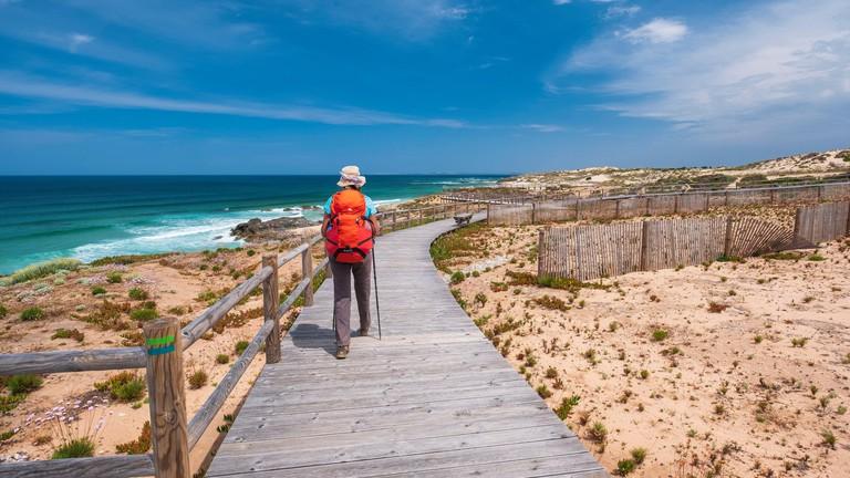 Portugal, Alentejo region, Southwest Alentejano and Costa Vicentina Natural Park, the hike Rota Vicentina between Vila Nova de Milfontes and Porto Covo on the fishermen trail, Praia do Malhoa