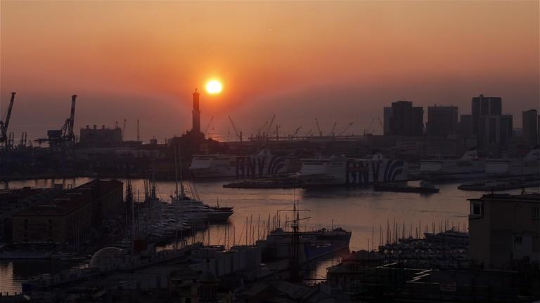 Sunset seen from Spianata Castelletto, Genoa, Lombardia, Italy