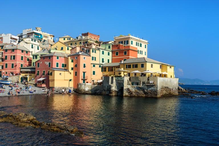 Genoa, Italy - October 14, 2018: Boccadasse is small fishing village in Genoa