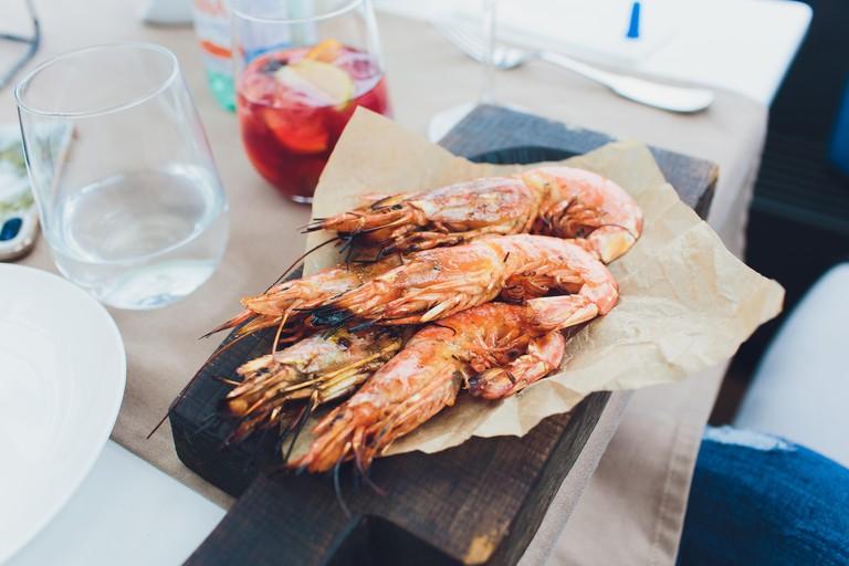 Grilled shrimp skewers. Seafood, shellfish Shrimps Prawns