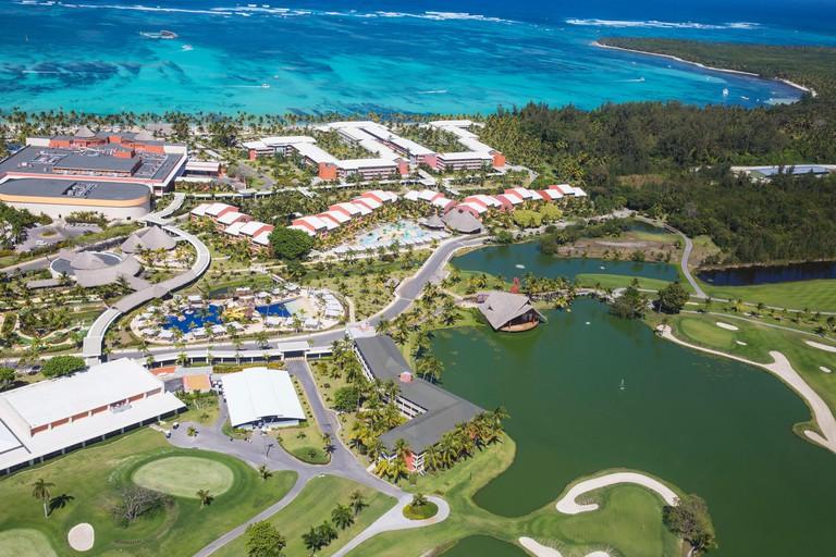 Dominican Republic, Punta Cana, View of ABarcelo Bavaro Palace Deluxe Hotel and The Lakes Golf Course by P.D. Dye