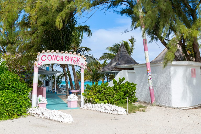 Entrance to Da Conch Shack, a local and tourist favorite restaurant in the Blue Hills area on Providenciales, in the Turks and Caicos.
