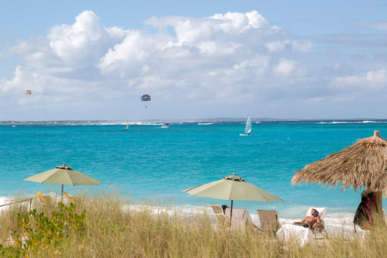 View from the popular Hemingway's beach on on the island of Providenciales in Turks and Caicos.