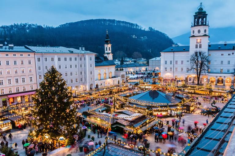 Salzburg, Austria. Christmas Market  in the old town of Salzburg.