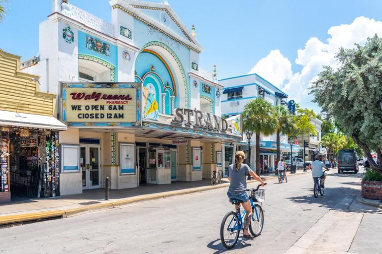 Key West, Florida, USA - September 12, 2019: Quiet Street In Key West Florida USA