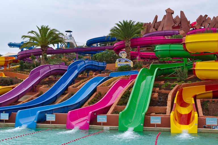 Slide and Splash water park, famous park and tourist attraction during summer season. In Lagoa, Algarve, Portugal