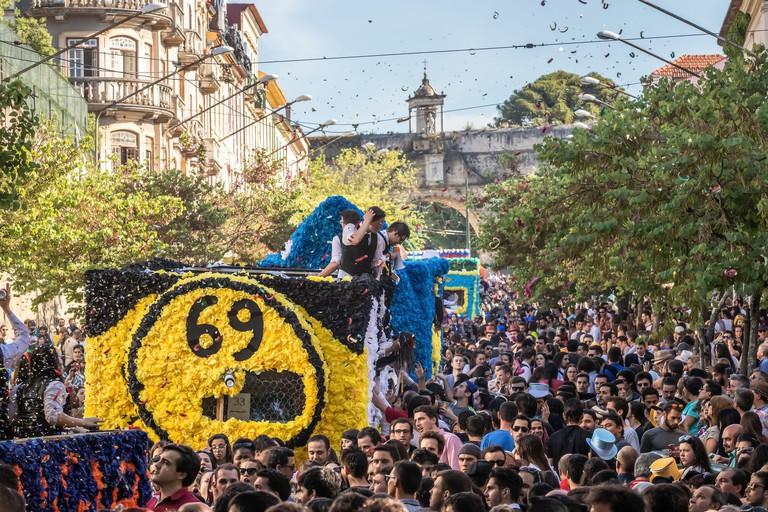 Coimbra, Portugal - May 7, 2017: Queima das Fitas Parade of the University of Coimbra.