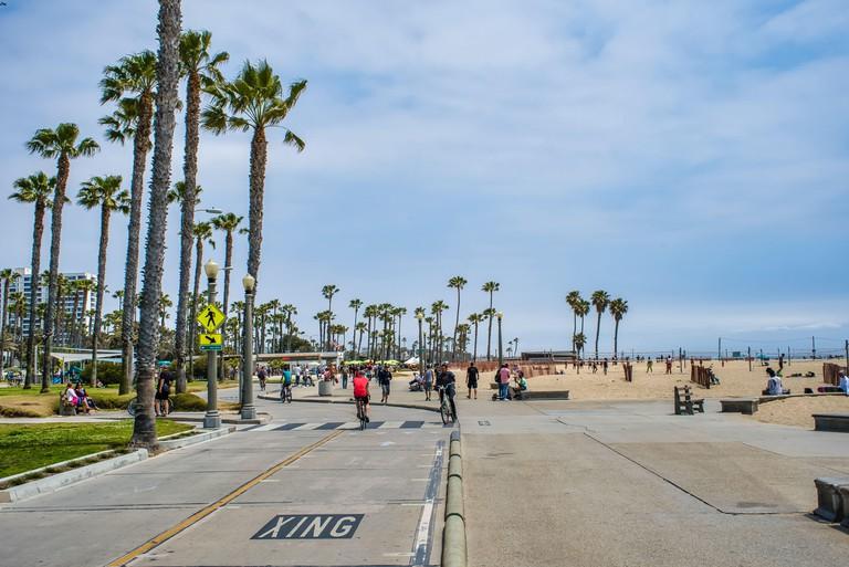 Santa Monica, USA - May 20, 2018: bicycle path that runs mostly along the Pacific Ocean shoreline