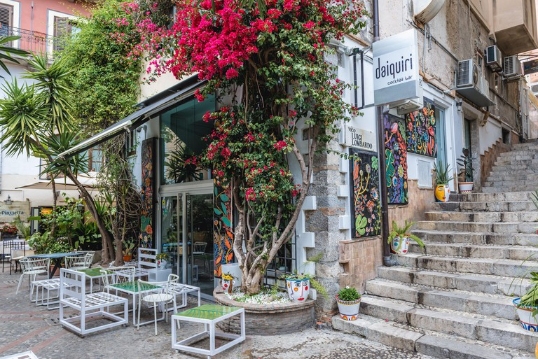 Daiquiri bar in Taormina comune in Metropolitan City of Messina, on the east coast of the island of Sicily, Italy