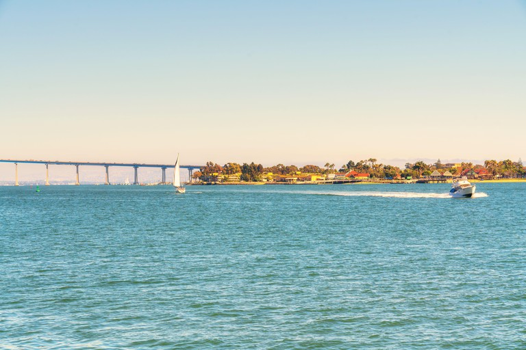 San Diego waterfront with Coronado Bay Bridge on  background