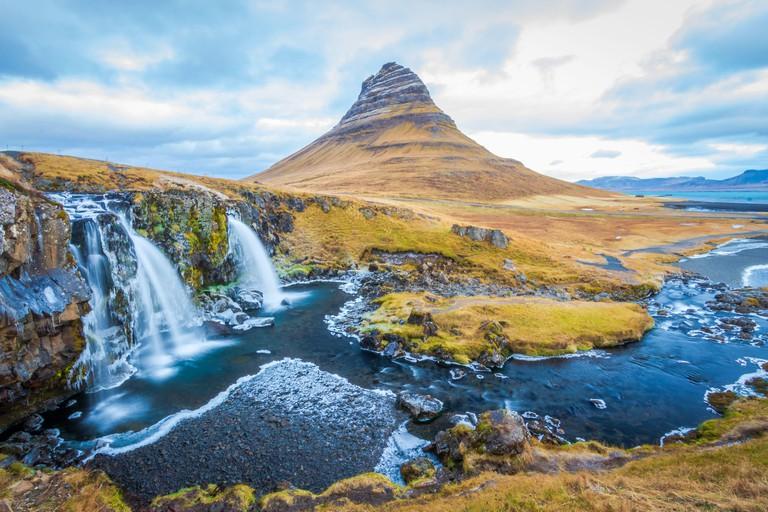Iconic Kirkjufellfloss in Iceland
