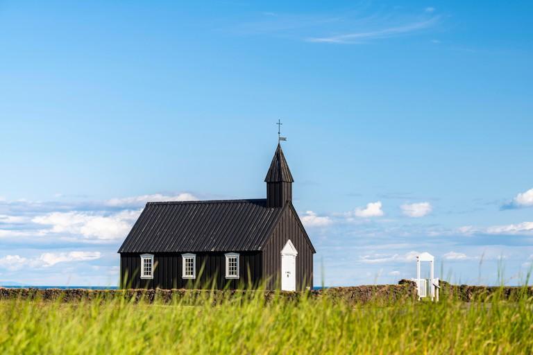 Black wooden church, Budir Kirka, Buoakirkja, Budir, Snaefellsnes Peninsula, Snaefellsnes, Vesturland, Iceland. Image shot 2019. Exact date unknown.