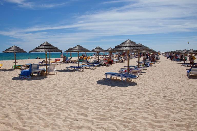 Sunbeds with natural umbrellas on Praia da Ilha de Tavira, Tavira, Portugal . The beach is reached via ferry from the town of Tavira