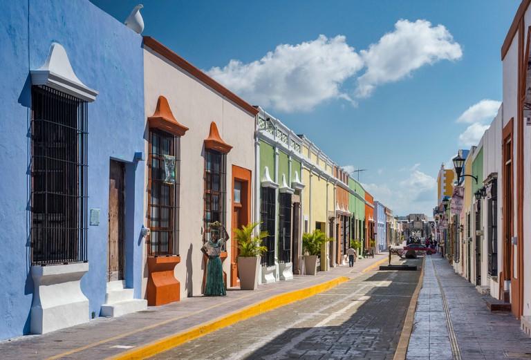 Colonial Spanish houses, Calle 59 pedestrian area in Campeche, Yucatan Peninsula, Mexico