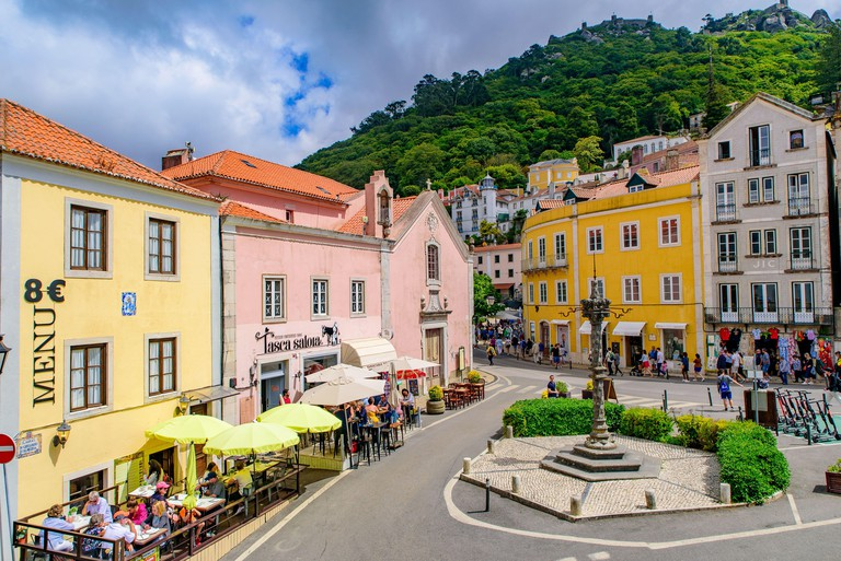 The street view of the town center of Sintra, a town in Lisbon, Portugal