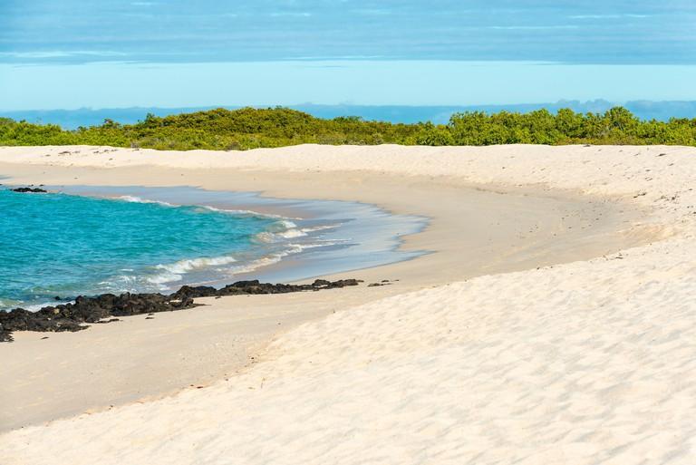 Playas las Bachas Beach on Santa Cruz island by the Pacific Ocean, Galapagos national park, Ecuador.