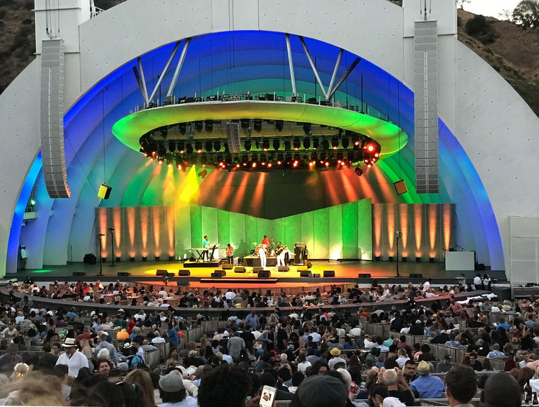 Concert with colorful lighting at the Hollywood Bowl in Los Angeles, CA