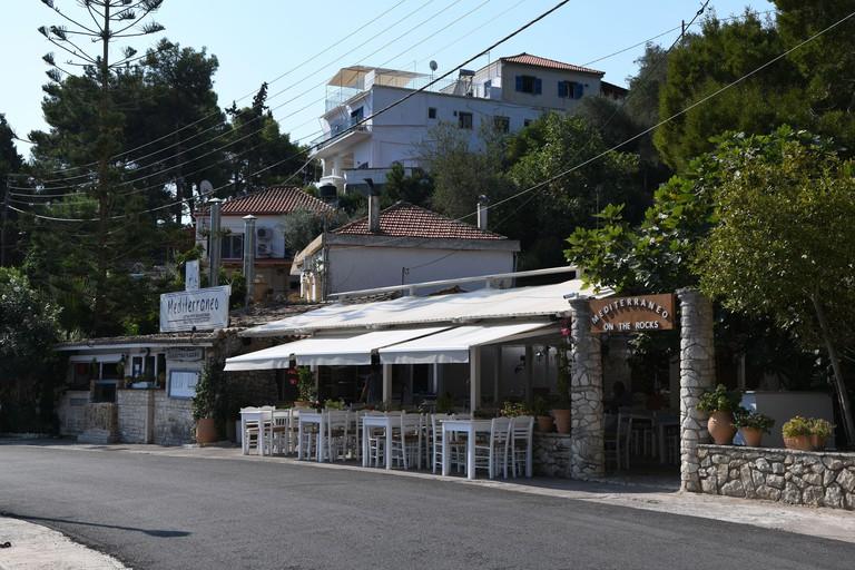 The Mediterranean a Greek fish restaurant in Gaios, Paxos, Greece. 2BKAJ1R
