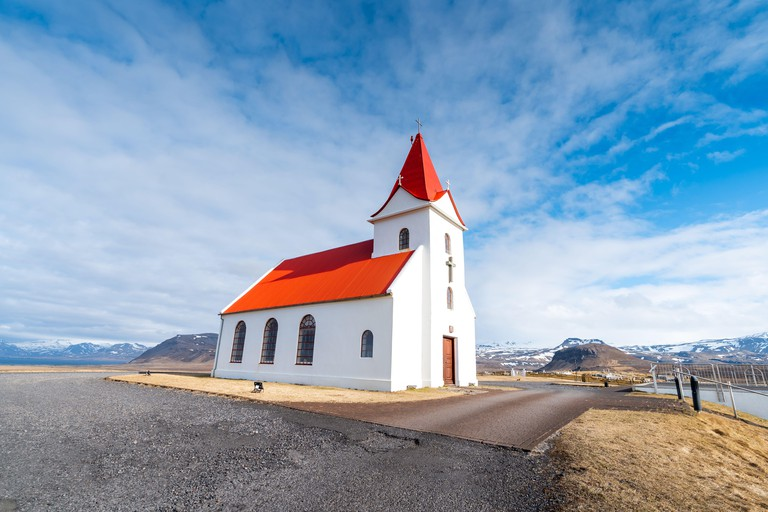 Panoramic view of Ingjaldsholskirkja church in Hellissandur, Iceland. Incredible Image of Icelandic landscape and architecture. Isolated church in a