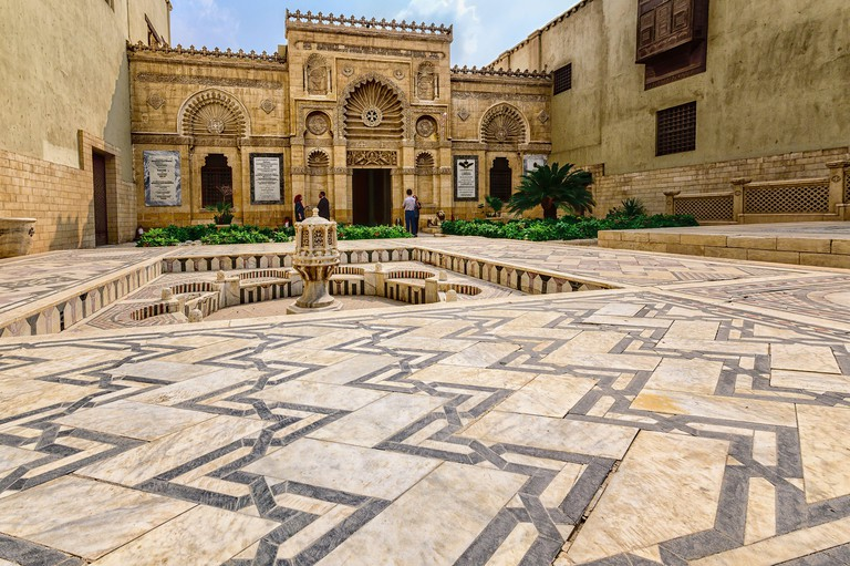 Facade and decorative courtyard of the Coptic Museum in Cairo. 2BMR2GN