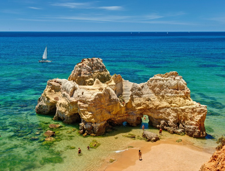 Rock formation at Praia da Rocha, the Algarve, Portugal