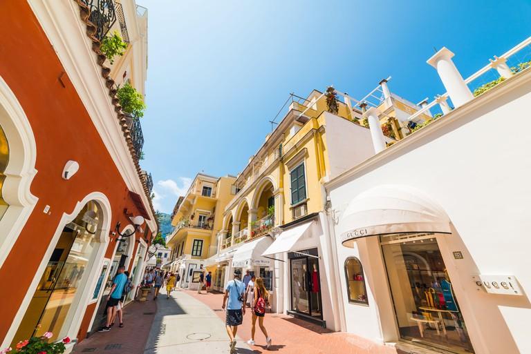 Capri, Italy . May 25, 2018: world famous Via Camerelle in Capri island