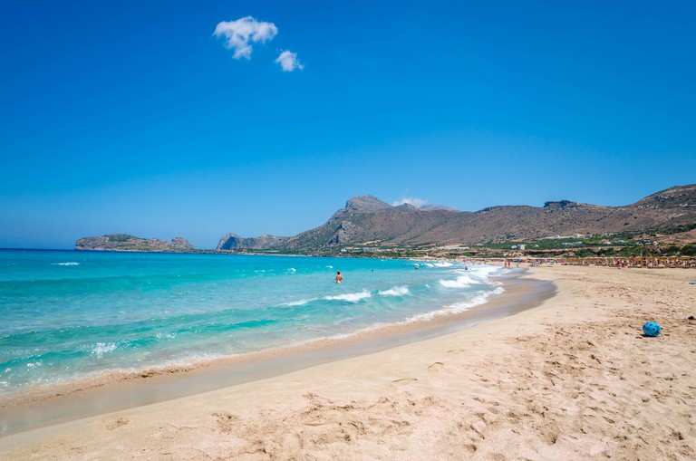 Falasarna beach, one of the most famous beaches of Crete located in the Kissamos province, at the northern edge of Crete?s western coast.
