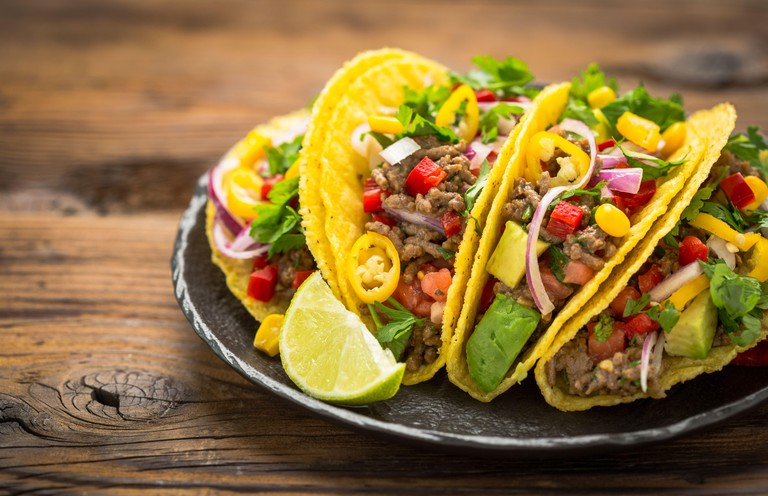 Mexican food - fresh tacos with ground meat