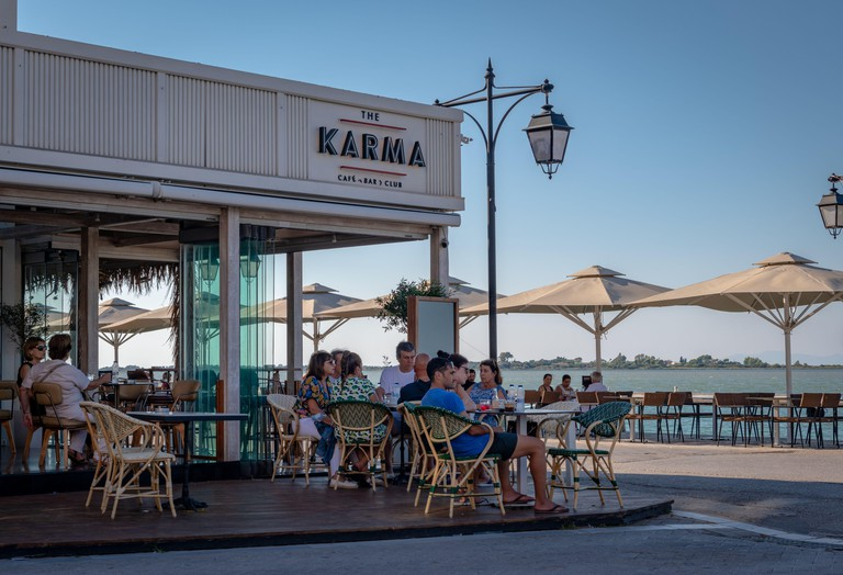 The karma cafe, bar and club, a popular venue in Lefkada town. the capital of the island.