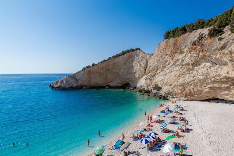 LEFKADA, GREECE - 18 SEPTEMBER 2019: Beautiful Porto Katsiki beach at Lefkada island, Greece. Ionian Islands. Summer Holiday.