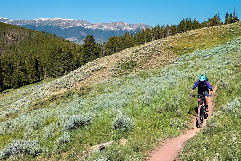 2D4RRA0 Mountain biking the long distance Colorado Trail near Kokomo Pass, Colorado