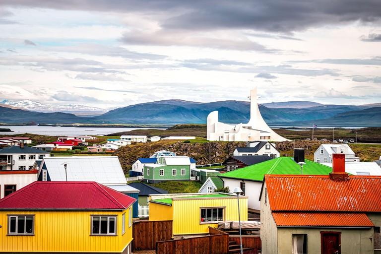 Modern white church on Snaefellsnes peninsula in Vesturland, Iceland - 2D7R3PT