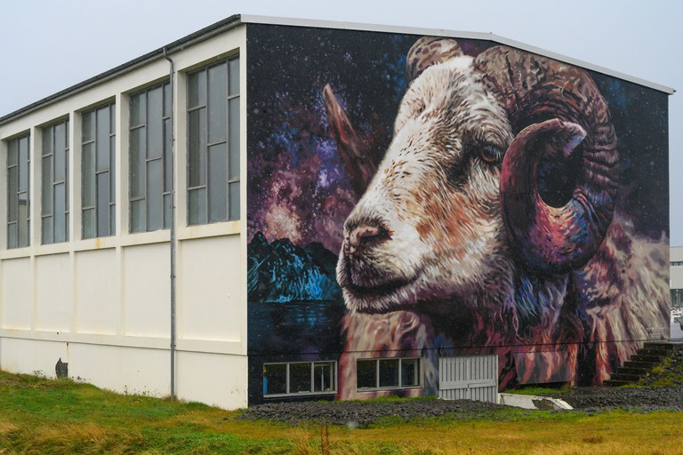 Painting of a sheep on the wall of a building, Hellissandur, Snaefellsbaer, Western Region, Iceland