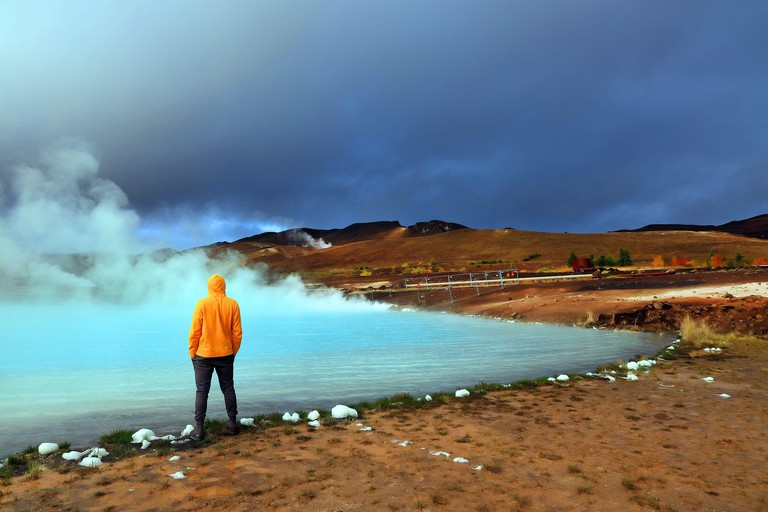 2DAGF3T Geothermal region of Hverir in Iceland near Myvatn Lake, Iceland, Europe