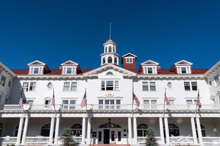Estes Park, CO - October 31, 2020: Exterior of the historic Stanley Hotel in Estes Park near Rocky Mountain National Park
