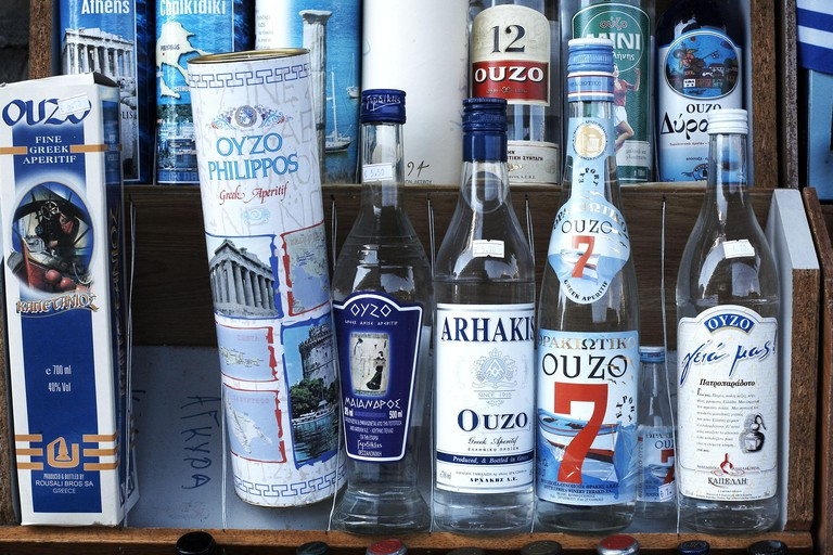 Bottles of greek Ouzo, traditional alcoholic drink, Thessaloniki, Greece