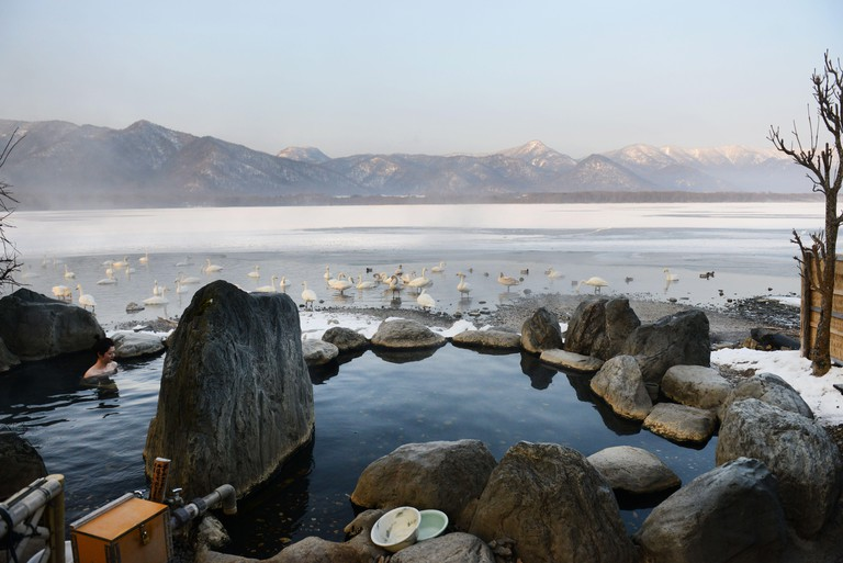 2E29B23 Kotan rotenburo by lake Kussharo in Hokkaido, Japan