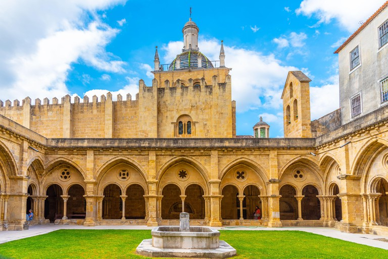 Cloister of Se Velha cathedral in Coimbra, Portugal