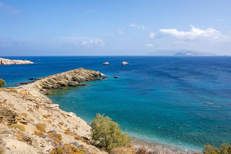 Latinaki beach, rocky beach with crystal waters on Folegandros island. Cyclades, Greece