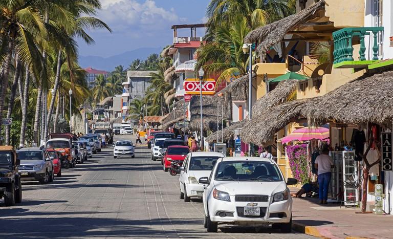 Shops on boulevard along Playa Zicatela near Puerto Escondido, Santa Maria Colotepec, Oaxaca, Mexico