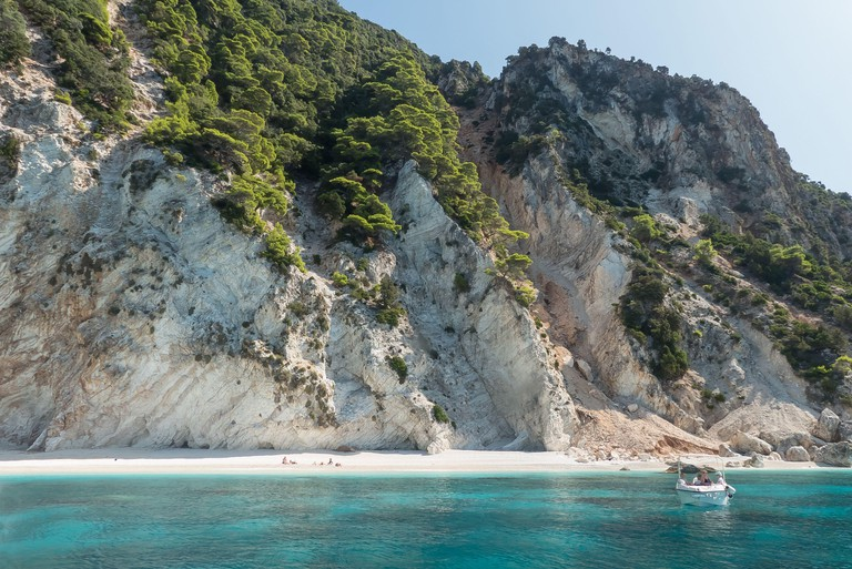 Ithaca in Greece: results of a landslip on the beach in Afales Bay