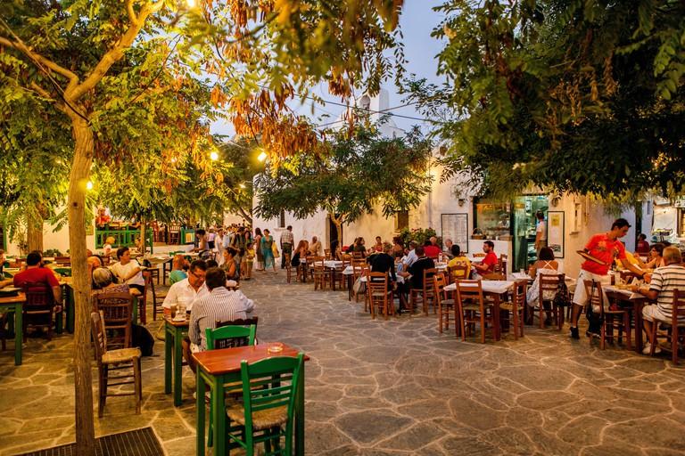 tavern in the center of Chora, Folegandros, island, Cyclades, Aegean Sea, Greece, Europe