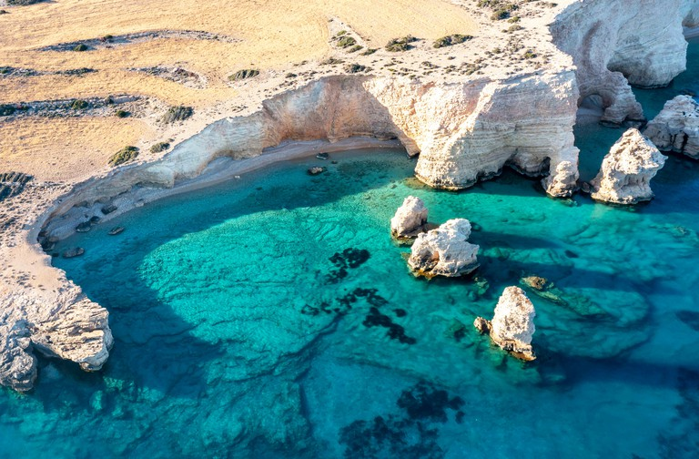 2G1A3DA Kato Koufonisi secluded beaches aerial drone view